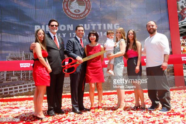 Jenna York John York Jed York Denise DeBartolo York Jaxon York Danielle York Mara York and Tony York stand on the stage following the cutting of the...