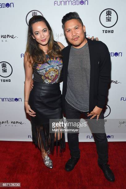 Jennalee Reyes and Dante Basco attend Funimation Films presents 'Your Name' Theatrical Premiere in Los Angeles CA at Yamashiro Hollywood on March 23...
