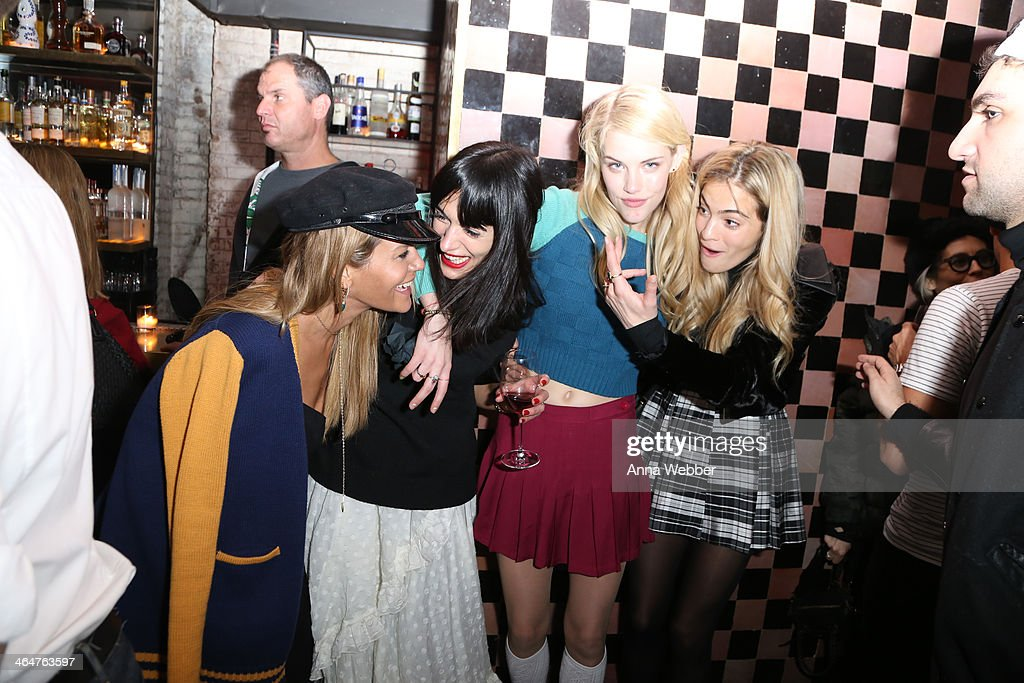 Jenne Lombardo, Athena Calderone, Model Ashley Smith and DJ Chelsea Leland attend Ashley Smith + RVCA - Collaboration Launch Dinner Hosted By RVCA Founder PM Tenore And Model Ashley Smith at Acme on January 23, 2014 in New York City.