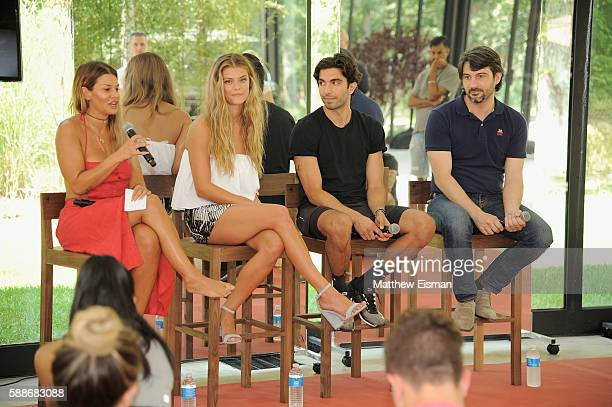 Jenne Lombardo model Nina Agdal Akin Akman and Bregt Ectors speak on a panel at the Buick celebration of the new Envision in the Hamptons at Buick...