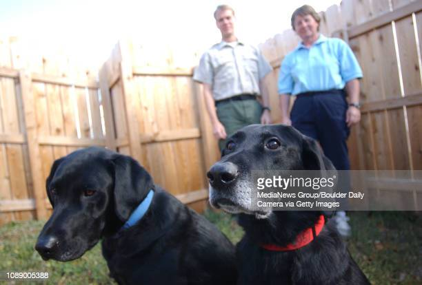 Jenner right and Merlin stand near their owners Matt Claussen and Ann Wichmann The dogs and their gaurdians went to New York recently to help with...
