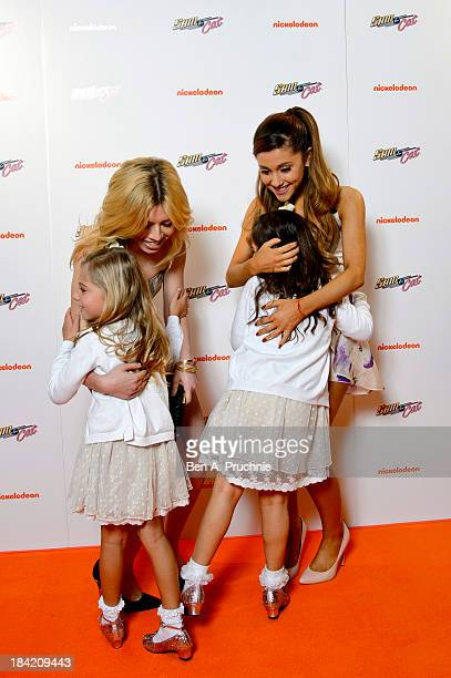 Jennette McCurdy Sophia Grace and Rosie Brownlee and Ariana Grande attends the UK Premiere of Sam Cat at Cineworld 02 Arena on October 12 2013 in...