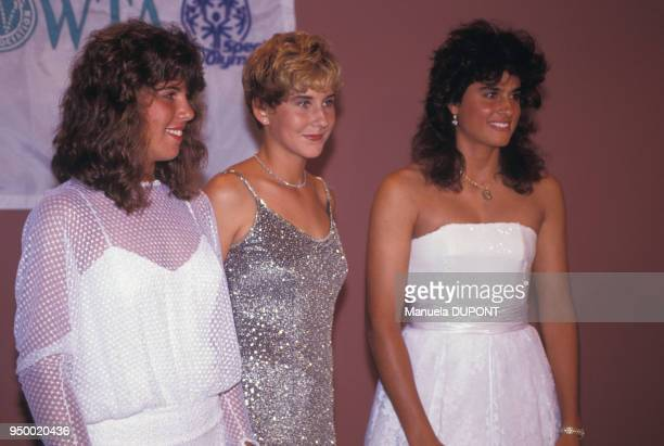 Jennfier Capriati Monica Seles et Gabriela Sabatini trois championnes de tennis pendant une soirée au tournoi de Flushing Meadows le 1er septembre...