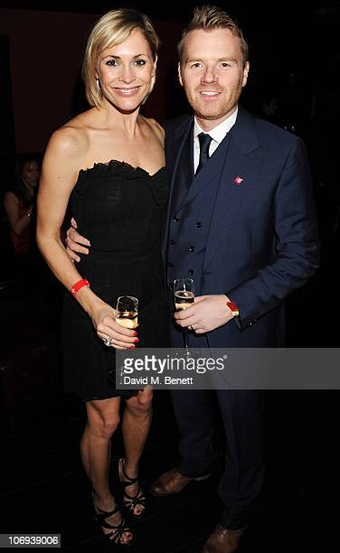 Jenni Falconer adn James Midgley attend the afterparty following The Prince's Trust Rock Gala 2010 supported by Novae at The Baglioni Hotel on...