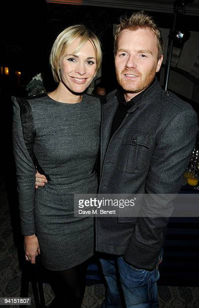 Jenni Falconer and James Midgley attend the launch of the Grosvenor Shirts Limited Edition 2010 FIFA World Cup desings at 88 St James's Street on...