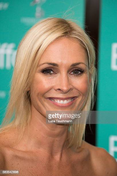 Jenni Falconer arrives for the opening night of Breakfast at Tiffany at Theatre Royal on July 26 2016 in London England