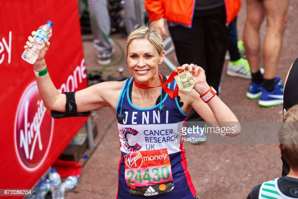Jenni Falconer poses for a photo after completing the Virgin London Marathon on April 23 2017 in London England
