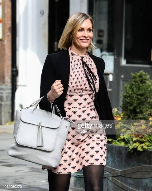 Jenni Falconer seen departing Global Studios on April 1, 2021 in London, England.