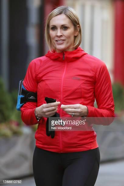 Jenni Falconer seen leaving Global Radio Studios on December 1, 2020 in London, England.