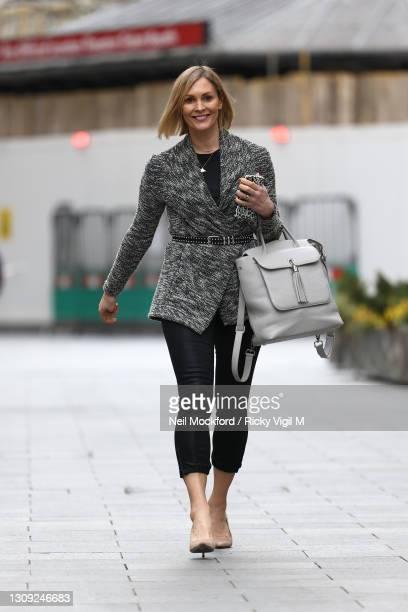 Jenni Falconer seen leaving Global Radio Studios on March 26, 2021 in London, England.