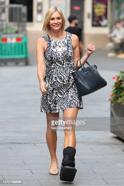 Jenni Falconer seen leaving Global Radio Studios wearing a foot brace on September 16 2020 in London England
