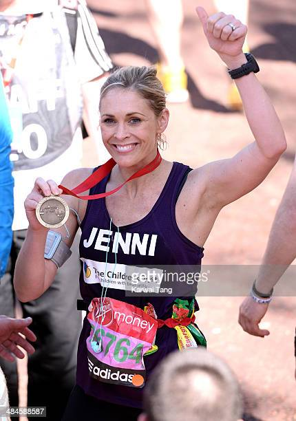 Jenni Falconer takes part in the 2014 London Marathon on April 13 2014 in London England