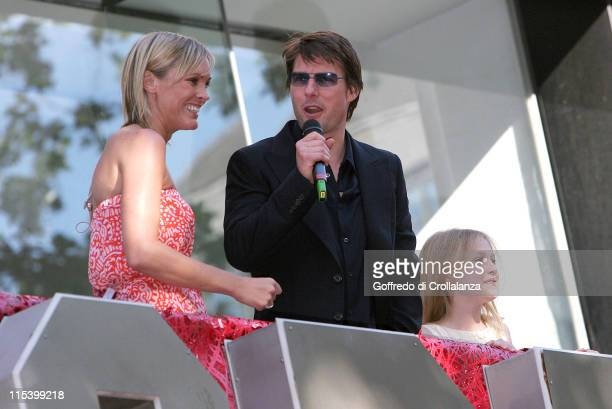 Jenni Falconer Tom Cruise and Dakota Fanning during War of the Worlds London Premiere Arrivals at Odeon Leicester Square in London Great Britain