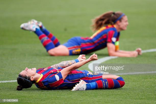 Jenni Hermoso of FC Barcelona and Alexia Putellas of FC Barcelona celebrates the pass to the Final UEFA Women's Champions League after the UEFA...