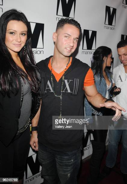 "Jenni ""JWoww"" Farley and Mike ""The Situation"" Sorrentino arrive at Mansion nightclub on January 27, 2010 in Miami Beach, Florida."