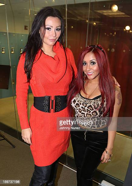 Jenni 'JWoww' Farley and Nicole 'Snooki' Polizzi invade 'The Whoolywood Shuffle' at SiriusXM Studios on January 14 2013 in New York City
