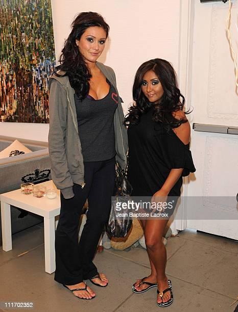Jenni 'JWOWW' Farley and Nicole 'Snooki' Polizzi visit Prive Hair Salon on June 6, 2010 in Los Angeles, California.
