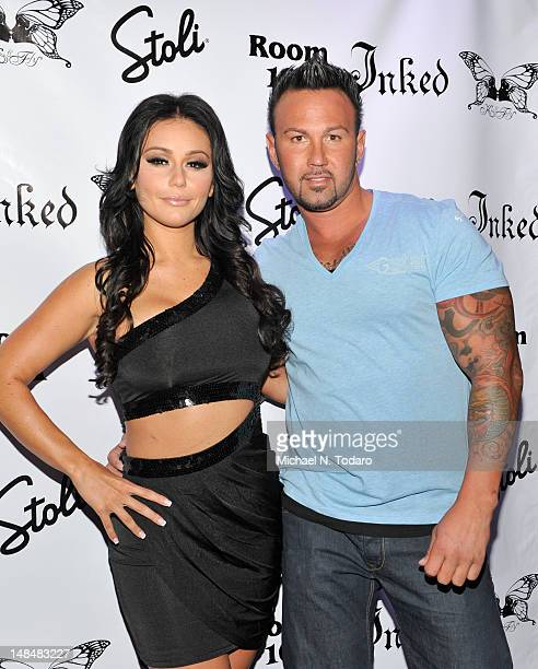 """Jenni """"JWoww"""" Farley and Roger Mathews attend the Jenni """"JWoww"""" Farley Inked Magazine Cover Celebration at Kiss & Fly on July 17, 2012 in New York..."""
