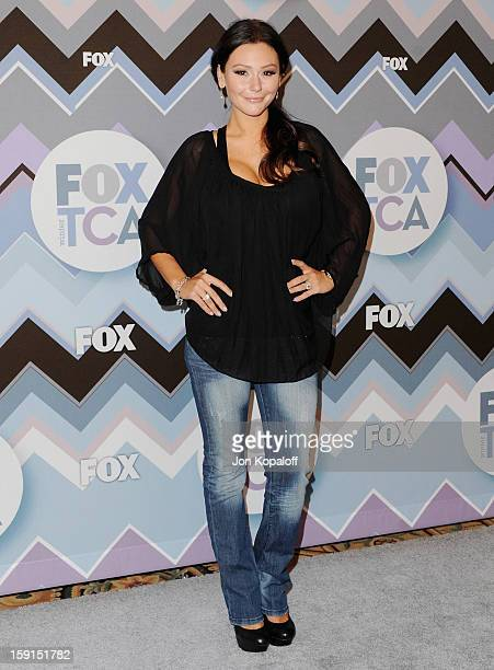 Jenni 'Jwoww' Farley arrives at the 2013 Winter TCA FOX AllStar Party at The Langham Huntington Hotel and Spa on January 8 2013 in Pasadena California