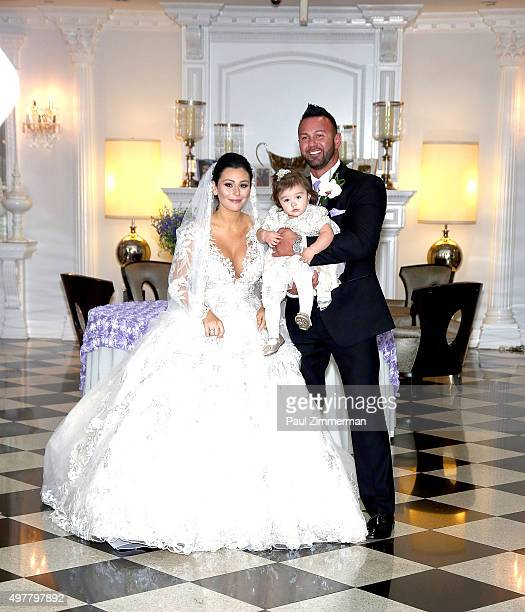 Jenni 'JWoww' Farley daughter Meilani Alexandra Mathews and Roger Mathews pose for wedding pictures at the wedding of television personalities Jenni...