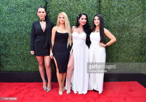 "Jenni ""JWoww"" Farley Lauren Sorrentino Angelina Pivarnick and Deena Nicole Cortese attend the 2019 MTV Movie and TV Awards at Barker Hangar on June..."
