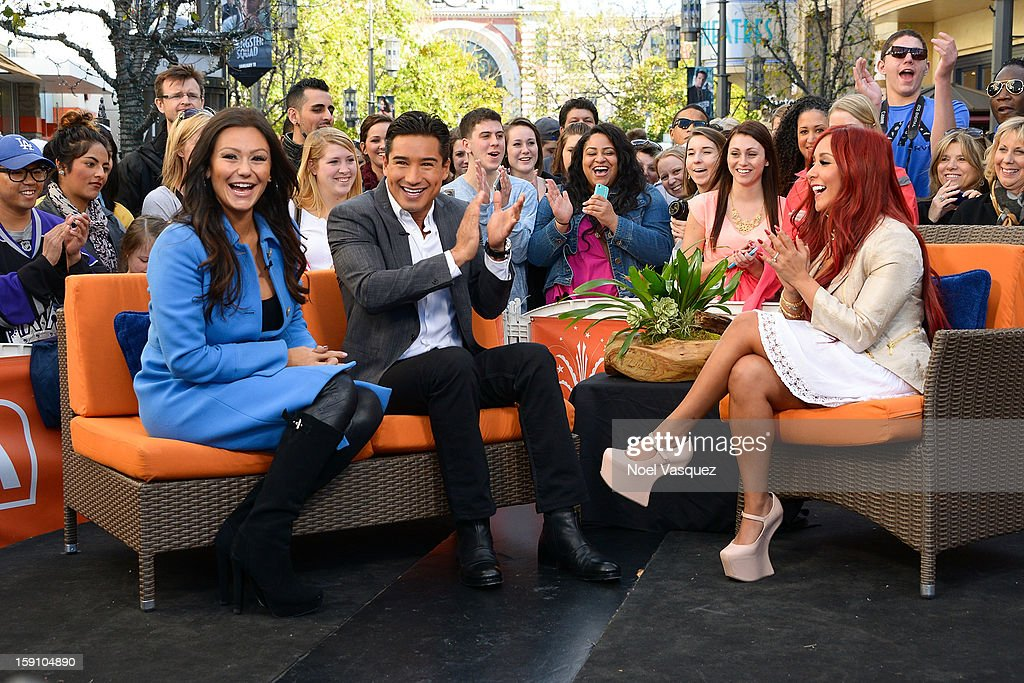 Jenni 'Jwoww' Farley, Mario Lopez and Nicole 'Snooki' Polizzi visit Extra at The Grove on January 7, 2013 in Los Angeles, California.