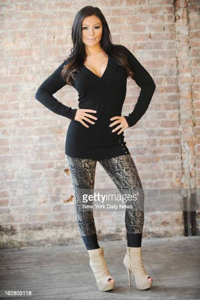Jenni 'JWoww' Farley of MTV's 'The Jersey Shore' fame photographed at Broadway Lofts for second season of her spinoff show 'Snooki JWOWW'