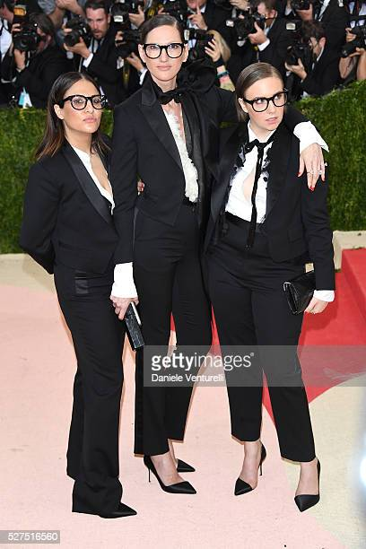 Jenni Konner Jenna Lyons and Lena Dunham attend the Manus x Machina Fashion In An Age Of Technology Costume Institute Gala at Metropolitan Museum of...