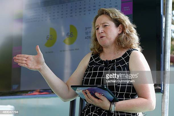 Jenni Lewis Solutions Architect Sponsorship Technology Lead SAP Global Marketing gives a demonstration at a press conference for SAP during day three...