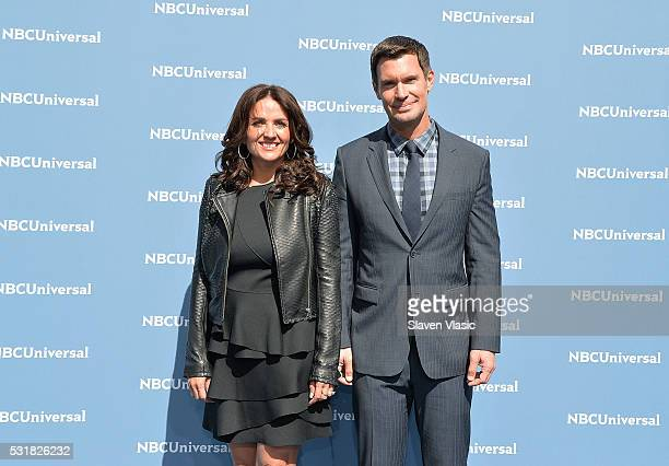 Jenni Pulos and Jeff Lewis attend the NBCUniversal 2016 Upfront Presentation on May 16 2016 in New York New York