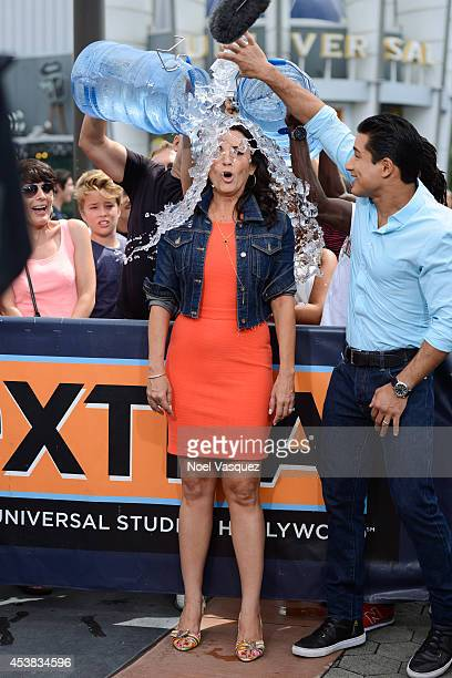 Jenni Pulos takes the ALS ice bucket challenge at 'Extra' at Universal Studios Hollywood on August 19 2014 in Universal City California