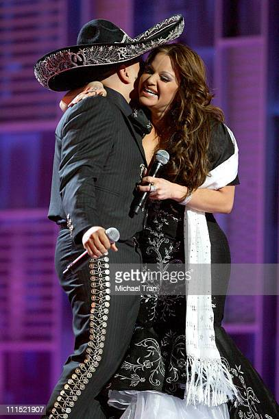 Jenni Rivera and Lupillo Rivera perform onstage during the 9th Annual Latin Grammy Awards held at Toyota Center on November 13 2008 in Houston Texas