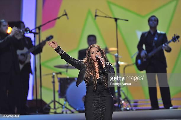Jenni Rivera performs at Univision's Premio Lo Nuestro a La Musica Latina Awards at AmericanAirlines Arena on February 17 2011 in Miami Florida