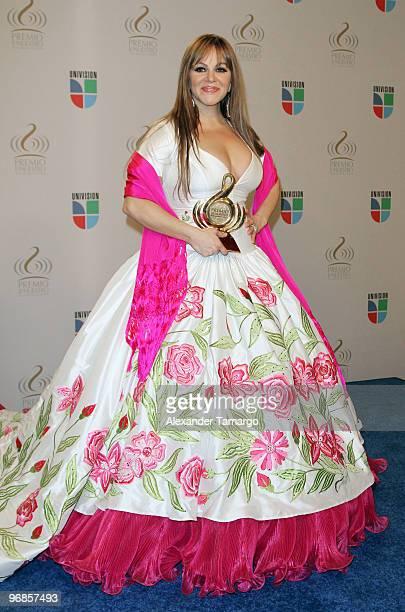 Jenni Rivera poses in the press room at Univision's 2010 Premio Lo Nuestro a La Musica Latina Awards at American Airlines Arena on February 18 2010...