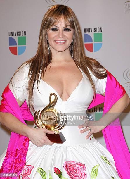 Jenni Rivera poses in the press room at Univisions 2010 Premio Lo Nuestro a La Musica Latina Awards at American Airlines Arena on February 18 2010 in...