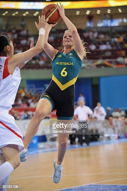 Jenni Screen of Australia puts up a shot during the Women's Semifinals basketball game against China at the Wukesong Indoor Stadium during Day 13 of...