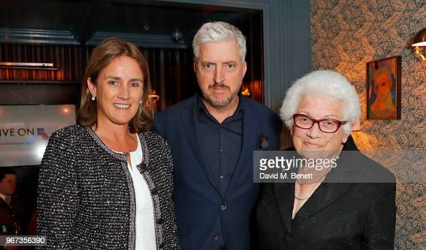 Jennie Churchill Anthony McCarten and Joy Hunter attend a charity auction held at The Wigmore in partnership with the Royal British Legion to...