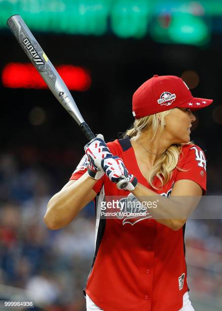Jennie Finch bats during the AllStar and Legends Celebrity Softball Game at Nationals Park on July 15 2018 in Washington DC
