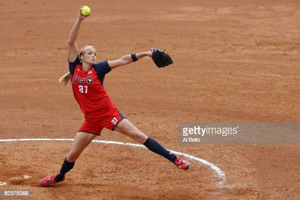 Jennie Finch of the United States pitches against Chinese Taipei during their softball game at Fengtai Softball Field on Day 8 of the Beijing 2008...