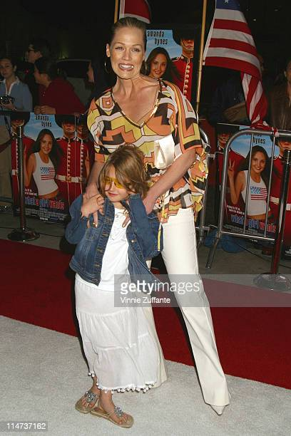 Jennie Garth and daughter Luca Bella attending the premiere of What A Girl Wants at the Cinerama Dome in Hollywood CA 03/27/03