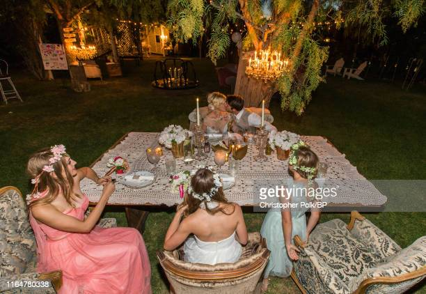 Jennie Garth and Dave Abrams are seen at their wedding with Lola Facinelli Luca Facinelli and Fiona Facinelli at a private residence July 11 2015 in...