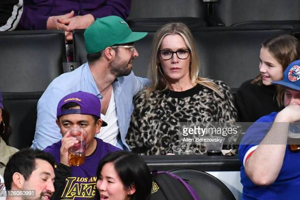 Jennie Garth and Dave Abrams attend a basketball game between the Los Angeles Lakers and the Philadelphia 76ers at Staples Center on January 29 2019...