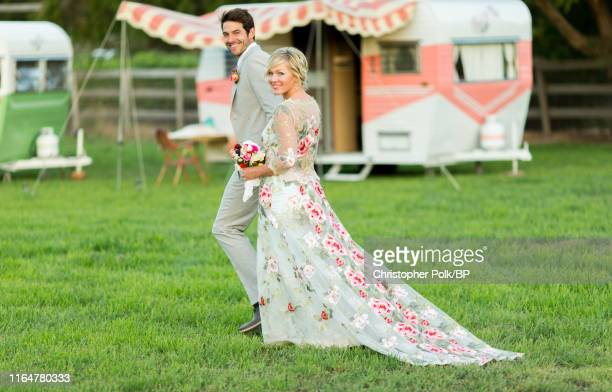 Jennie Garth and Dave Abrams pose at their wedding at a private residence July 11 2015 in Santa Ynez California