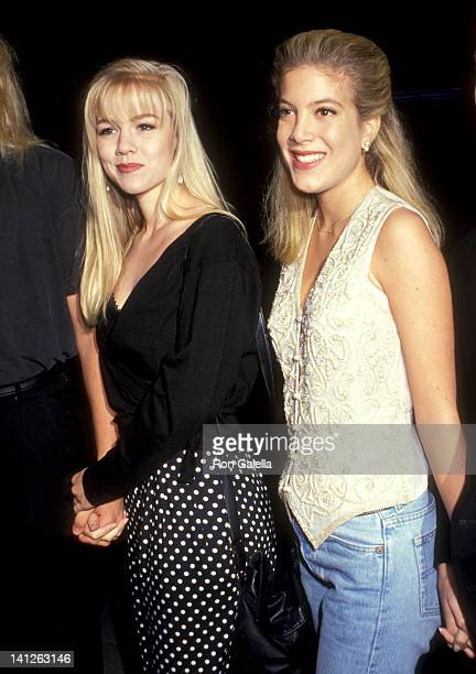 Jennie Garth and Tori Spelling at the Premiere of 'Rush' Galaxy Theatre Hollywood