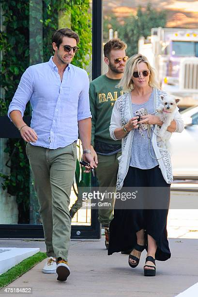 Jennie Garth is seen with her fiance David Abrams and her dog Pinky on May 29 2015 in Los Angeles California
