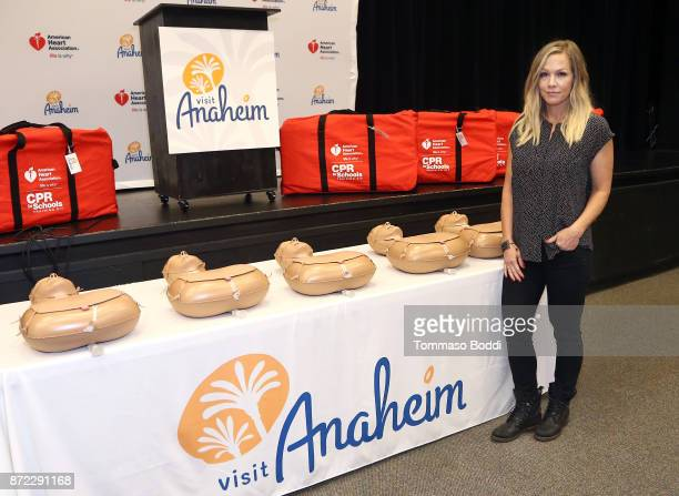 Jennie Garth joins Visit Anaheim to donate life saving CPR kits to local Anaheim High Schools on November 9 2017 in Anaheim California