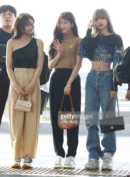 Jennie Jisoo and Lisa of BLACKPINK are seen upon departure at Incheon International Airport on June 11 2019 in Incheon South Korea