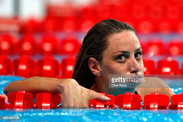 Jennie Johansson of Sweden reacts after winning the gold medal in the Women's 50m Breaststroke Final on day sixteen of the 16th FINA World...