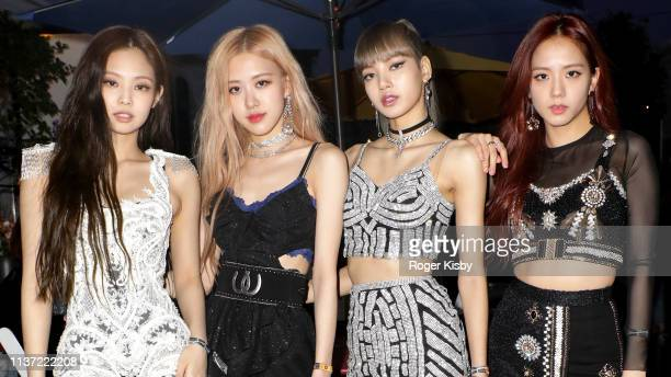 Jennie Kim Rosé Lisa and Jisoo of 'BLACKPINK' are seen at the YouTube Music Artist Lounge at Coachella 2019 on April 12 2019 in Indio California
