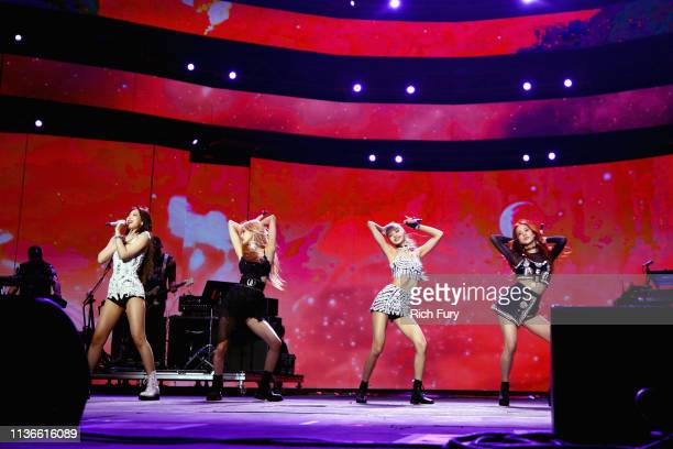 Jennie Kim Rosé Lisa and Jisoo of BLACKPINK perform at Sahara Tent during the 2019 Coachella Valley Music And Arts Festival on April 12 2019 in Indio...
